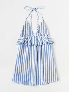 To find out about the Halter Neck Striped Ruffle Trim Dress at SHEIN, part of our latest Dresses ready to shop online today! Casual Summer Dresses, Summer Dresses For Women, Casual Outfits, Ladies Dresses, Spring Dresses, Necklines For Dresses, Sleeveless Dresses, Shift Dresses, Dresses Dresses