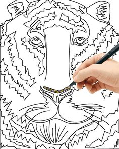 tiger blank zentangle coloring page adult coloring kids coloring instant download printable page pdf - Zentangle Coloring Pages For Adults