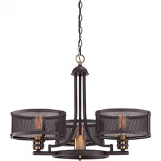 Bronze 3+1 Chandelier- 3 shades and one halogen downlight on Quoizel's Union Station : UST5003WT | Denney Lighting & Design Chandelier For Sale, Bronze Chandelier, Rustic Chandelier, Chandelier Ceiling Lights, Rustic Lighting, Pendant Chandelier, Pendant Lighting, Quoizel Lighting, Foyer Lighting