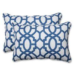 Outdoor / Indoor Nunu Geo Ink Blue Over-sized Rectangular Throw Pillow (Set of 2)