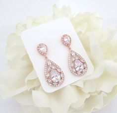 Rose Gold Bridal earrings Rose Gold Wedding by TheExquisiteBride