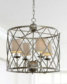 "I'd have if it fit the budget; like the contrast of this geometric weave against the other curvier motifs. ""Open Weave"" Chandelier at Neiman Marcus."