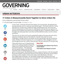 Governing Magazine - 11 Cities in Massachusetts Band Together to Solve Urban Ills