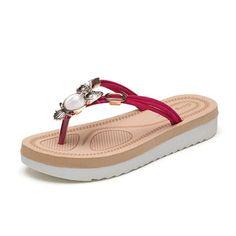 2ad035127efe Winzik Flat Sandals Women Girls Summer Fashion T-strap Bohemia Rhinestone  Beaded Owl Pattern Clip Toe Slipper Flip Flops Beach Shoes