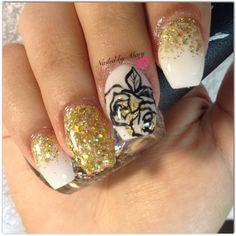 Gold rose coffin ballerina nails