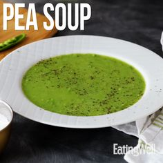 A simple pea soup makes an elegant start to a spring meal. It's also a great way to use frozen vegetables when the produce section is looking bleak. Pea Recipes, Easy Salad Recipes, Super Healthy Recipes, Easy Salads, Healthy Soup, Soup Recipes, Healthy Snacks, Cooking Recipes, Green Pea Soup