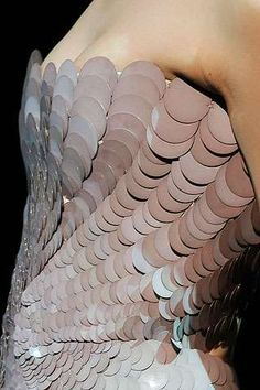 Fish Scale Fashion - mermaid-inspired dress with smooth overlapping sequins creating scale-like layers that resemble fish skin; fashion details