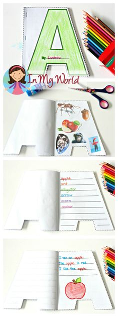 Alphabet Shape Booklets. Perfect for students who are beginning to write. (Beginning sounds magazine picture hunt, sight words, writing simple sentences)