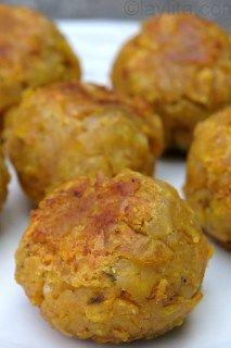 Bolon de verde or green plantain dumplings