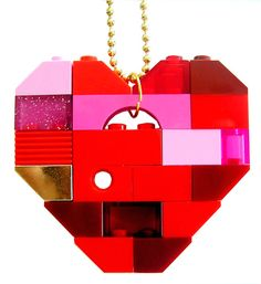Playful Red necklace Chunky heart pendant by MademoiselleAlma #MademoiselleAlma #LEGO #ETSY