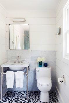 farmhouse small bathroom shower subway tile dark grout steel glass door cococozy nyt