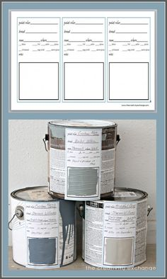 Free printable label and binder sheet for labeling paint cans and creating a binder to keep up with home paint colors. The Creativity Exchange