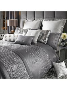 By Caprice Teardrop Duvet Cover in Double, King and Super King sizesFlaunting a breathtaking combination of sophisticated elegance and sparkling opulence, the Teardrop range has been designed b Silver Bedroom, Gray Bedroom, Master Bedroom, Master Suite, King Size Duvet Covers, Duvet Cover Sets, Kylie Minogue, Bedroom Furniture, Bedroom Decor