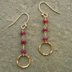 simple everyday beaded and wire gemstone earrings