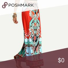 🐠Rocky Creek Cellars Maxi🐠 Exotic Maxi lightweight and easy Breezy for all year. Wear with white, black or denim, use you imagination. Great with sandals and boots. See size description in last picture. Enjoy! Boutique By The Bay Skirts Maxi