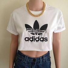white adidas crop top