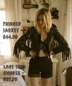 Our fashion gurus curate, hand-pick and style the best fashion items for you. Lace Trim Shorts, Festival Fashion, Festival Style, Fringe Jacket, Rock Concert, Boho Chic, Bohemian, Lifestyle Blog, Night Out