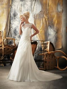 $337.99 Noble Satin And Lace Chapel Train Bateau Lace  #A-Line #Wedding #Dress