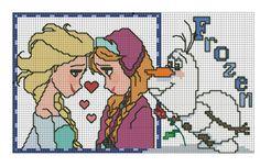 Elsa, Ana and Olaf Cross Stitch Charts, Cross Stitch Designs, Cross Stitch Patterns, Cross Stitching, Cross Stitch Embroidery, Embroidery Patterns, Frozen Cross Stitch, Frozen Pattern, Pixel Crochet Blanket
