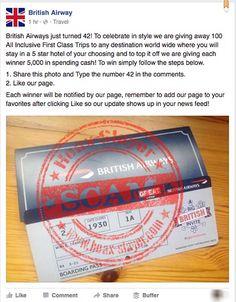British Airways '100 All Inclusive First Class Trips' Facebook Scam