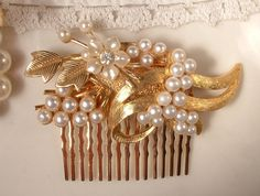 True Vintage Pearl & Rhinestone Brushed Gold Bridal Hair Comb, OOAK Heirloom Collage Comb. $87.99, via Etsy.