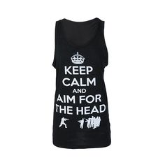Darkside Clothing Keep Calm Aim For The Head Women's Vest ($28) ❤ liked on Polyvore