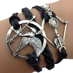 Bracelet Hunger Games noir avec oiseau geai moqueur et arc argenté: Amazon.fr: Bijoux