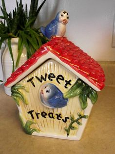 """Tweet Treat"" cookie jar with bluebirds."