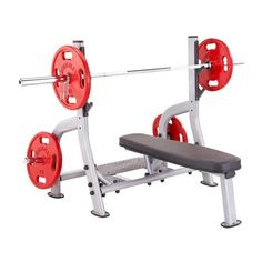 Steelflex Commercial Olympic Flat Weight Bench with Spotter Platform Weight Training, Weight Lifting, Close Grip Bench Press, Plate Storage, Olympic Weights, Smith Machine, Olympic Weightlifting, Weight Benches, Heavy Weights