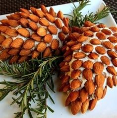 Cheese Spread decorated like pine cones.- so neat for Christmas!