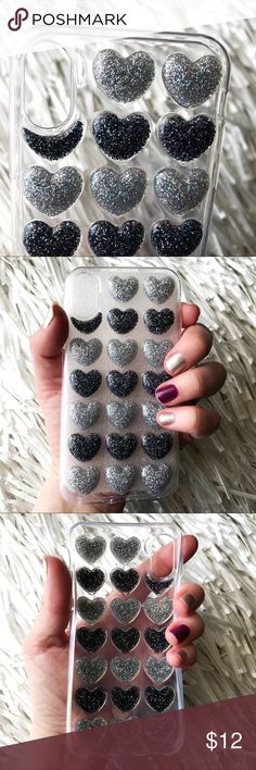 NEW iPhone X Soft TPU 3D Glitter Heart Case ▪️Fits iPhone X Model  ▪️High Quality Soft TPU - Thick & Shock-Resistant     ▪️Same or Next Business Day Shipping ! Accessories Phone Cases