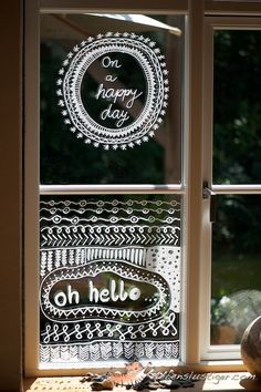 Zentanglish decorating windows, with a chalk or permanent marker. Chalk Pens, Chalk Markers, Window Writing, Window Markers, Chalk Design, Liquid Chalk, Store Windows, Window Art, Marker Art