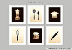 Kitchen Art Decor Vintage Art Print Set, Utensils Appliance Silhouettes // Modern  Kitchen Art