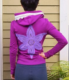 Hippie clothing, Upcycled hoodie, recycling clothing, Eco friendly, Upcycled jacket, Yoga jacket, Crochet lace back, Sweatshirt, Fuchsia top on Etsy, $49.00