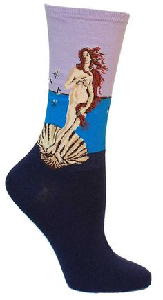 """Crew length socks featuring the famous painting by Sandro Botticelli, """"Birth of Venus"""" in purple."""