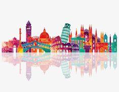 Colorful city silhouette, Colorido, A Silhueta Da CidadeImagem PNG