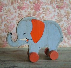 Early Vintage Fisher Price Elephant on Wheels by TinselandTrinkets, $26.50