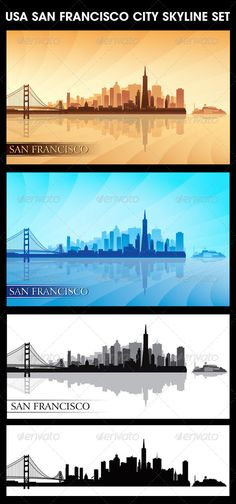 San Francisco USA City Skyline Silhouettes Set #jpg #image #bridge #architecture • Available here → https://graphicriver.net/item/san-francisco-usa-city-skyline-silhouettes-set/5657009?ref=pxcr