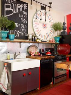 Love the style of this kitchen! The unexpected accents & salvaged finds not only bring a great unique style to the kitchen but work great with a small budget!