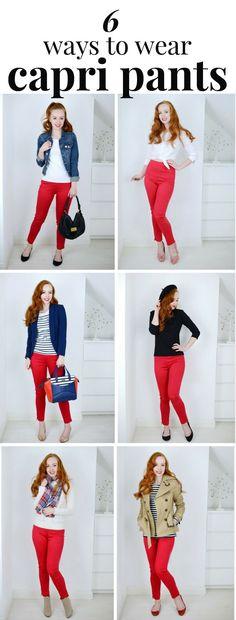 6 ways to wear red capri pants