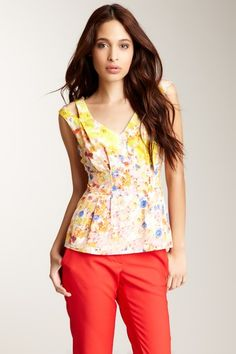 CLUNY By Designer Cynthia Steffe V-Neck Pleated Front Tank by Tanks: Starting At $10 on @HauteLook