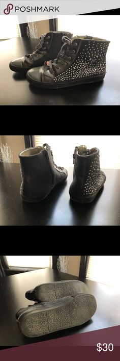 """Stuart Weitzman High Top Grey Studded Sneaker Stuart Weitzman high tops with silver details on one side. Zipper on the side, easy to put on and take off. Heart charm with """"SW"""". Size 6.5 but can fit up to a 7. Stuart Weitzman Shoes Sneakers"""