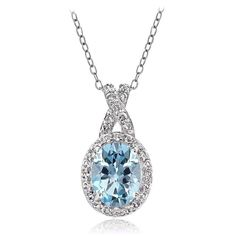 Sterling Silver 2.8ct Blue & White Topaz X and Oval Necklace