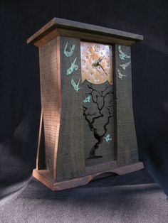 Arts and Crafts style mantle clock  crows by IslandArtsAndCrafts.