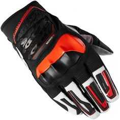 Spidi Wake Evo Gloves Black / Red. Made of stretch fabric, with stiff knuckle protector and silicone imprints on the fingers, the perfect combination of ergonomics and high performance.    Main...