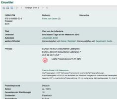 Zumindest schon mal die erste Meldung für das Buch beim VLB gemacht, E-Book folgt im Nachgang www.medianet-edition.de