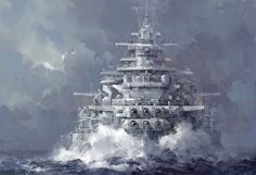 The painting is an intriguing combination of a United States Navy Iowa-class battleship and a Nazi Germany Bismarck-class battleship.…lending to a most melodramatic and fearsome aura Military Art, Military History, Poder Naval, Bateau Pirate, Ship Of The Line, Naval History, Navy Ships, Ship Art, Aircraft Carrier