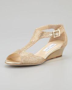 Womens Metallic Treat Glittered Tstrap Micro Wedge Sandal Wedding ShoesBridal ShoesGold