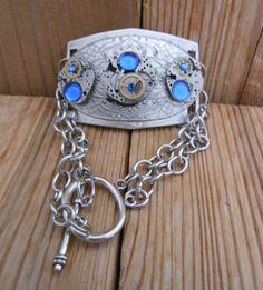 Steampunk Vintage Watch Movement Handmade Neo Victorian Bracelet Jewelry Industrial Swarovski Sapphire Rhinestone Brass Gear Silver Plated by BackAlleyDesignsINK on Etsy
