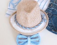 Baby Boy Fedora Hat and Bow Tie Set Crochet Cotton by milazshop